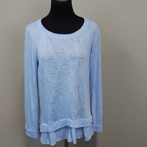 Nally & Millie USA Blue ruffled Layered hem Tunic